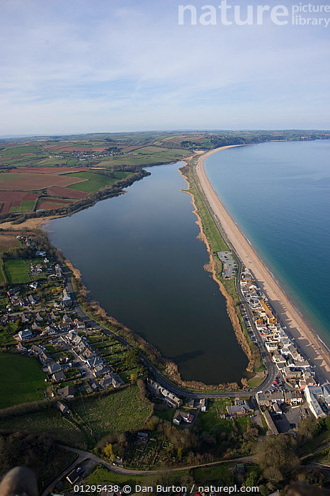 Slapton Ley NNR with Torcross on the forshore. Devon. UK April 2010, AERIALS,BEACHES,BUILDINGS,COASTS,EUROPE,FRESHWATER,LAGOONS,LAKES,LANDSCAPES,RESERVE,RESERVES,TOWNS,UK,United Kingdom, Dan Burton