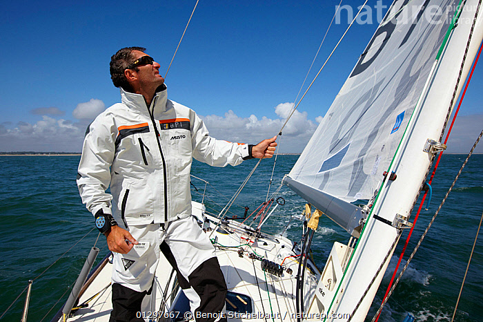 """Skipper Jeremie Beyou on board """"BPI"""" during La Solitaire du Figaro, Port la Foret Le, Brittany, France, 2010. All non-editorial uses must be cleared individually.  ,  ABOARD,BOATS,EUROPE,FRANCE,MAN,PROCEDURES,RACES,SAILING BOATS,SKIPPER,YACHTS,PEOPLE ,CREWS ,core collection xtwox  ,  Benoit Stichelbaut"""