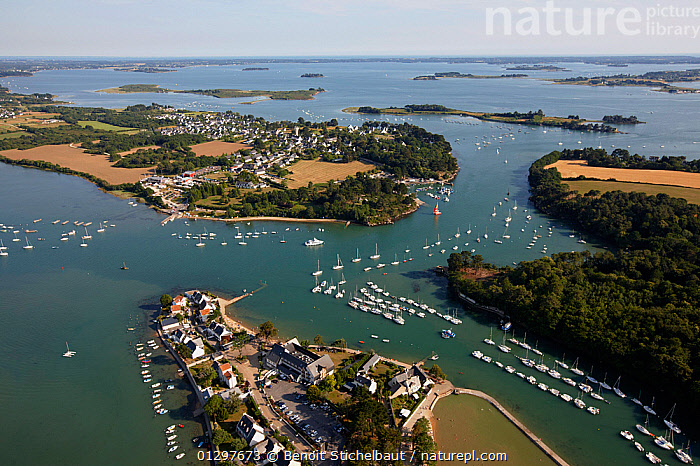 Aerial view of the Gulf of Morbihan, Brittany, France, 2010.  ,  AERIALS,BOATS,BUILDINGS,COASTS,CRUISING,EUROPE,FRANCE,LANDSCAPES,MOORED,SAILING BOATS,YACHTS  ,  Benoit Stichelbaut