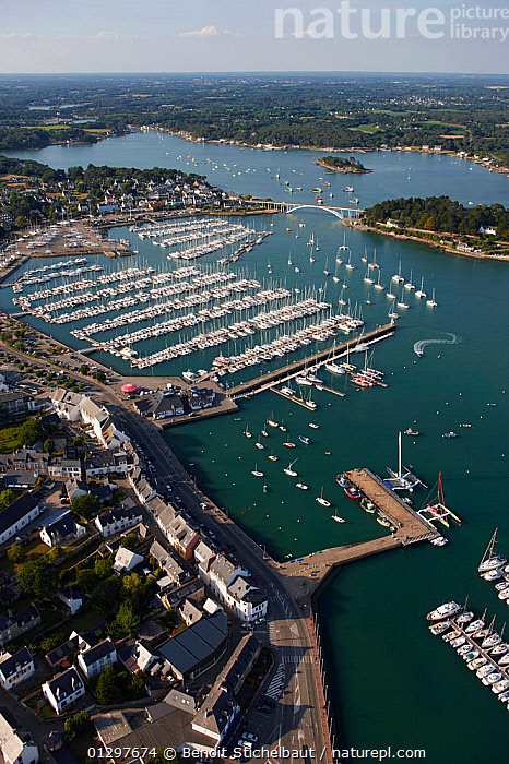 Aerial view of Morbihan and marina, Brittany, France, 2010.  ,  AERIALS,BOATS,BUILDINGS,COASTS,CRUISING,EUROPE,FRANCE,LANDSCAPES,MARINAS,MOORED,SAILING BOATS,TOWNS,VERTICAL,YACHTS,core collection xtwox  ,  Benoit Stichelbaut