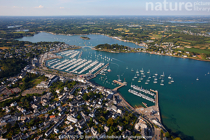 Aerial view of Morbihan and marina, Brittany, France, 2010.  ,  AERIALS,BOATS,BUILDINGS,COASTS,CRUISING,EUROPE,FRANCE,LANDSCAPES,MARINAS,MOORED,SAILING BOATS,TOWNS,YACHTS,core collection xtwox  ,  Benoit Stichelbaut