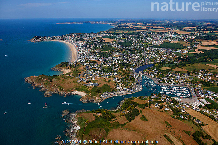 Aerial view across the coastline of Pleneuf Val Andre, C�tes d'Armor, Brittany, France, 2010.  ,  AERIALS,BOATS,COASTS,CRUISING,EUROPE,FRANCE,LANDSCAPES,MARINAS,SAILING BOATS,TOWNS,YACHTS  ,  Benoit Stichelbaut