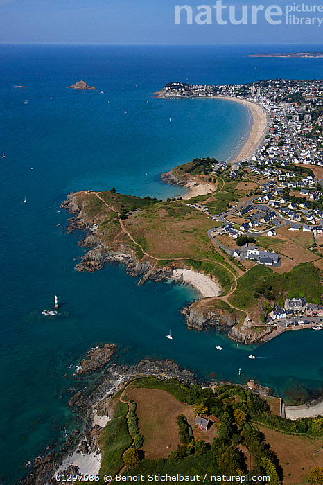 Aerial view across the coastline of Pleneuf Val Andre, C�tes d'Armor, Brittany, France, 2010.  ,  AERIALS,BEACHES,BOATS,BUILDINGS,COASTS,CRUISING,EUROPE,FRANCE,LANDSCAPES,SAILING BOATS,TOWNS,VERTICAL,YACHTS  ,  Benoit Stichelbaut