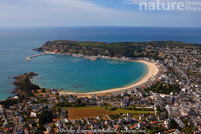 Aerial view across the town and bay of Erquy, C�tes d'Armor, Brittany, France, 2010.  ,  AERIALS,BEACHES,BUILDINGS,COASTS,CRUISING,EUROPE,FRANCE,LANDSCAPES,MARINAS,TOWNS  ,  Benoit Stichelbaut