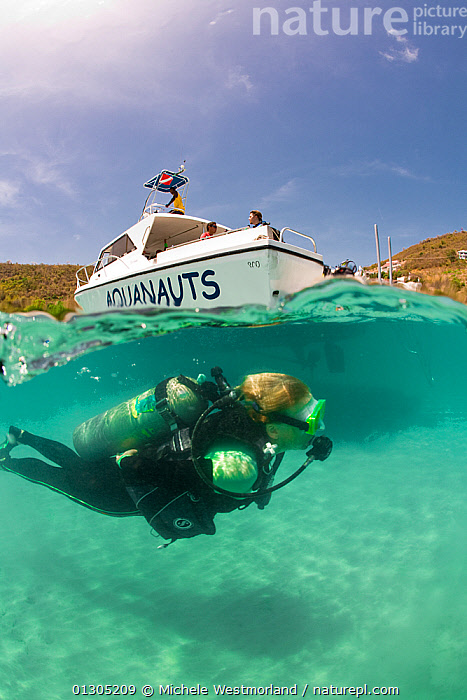 Split level view of scuba diver with PR Aquanauts boat in Grenada, Caribbean. May 2009. Property released and diver model released.  ,  boat,BOATS,capital letter,CARIBBEAN,CATALOGUE2,DIVING,exploration,grenada,lens flare,lettering,low angle view,MEN,outdoors,PEOPLE,RECREATIONAL,scuba diver,scuba diving,scuba tank,SKY,SPLIT LEVEL,SPORTS,SURFACE,TEXT,three people,TROPICAL,TURQUOISE,UNDERWATER,VERTICAL,view to land,WATER,water level,WEST INDIES,wetsuit,Model released,core collection xtwox  ,  Michele Westmorland