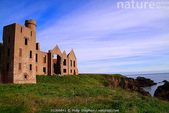 Ruin of Slains Castle, Cruden Bay, Aberdeenshire, Scotland. August 2010.  ,  BUILDINGS,CASTLES,COASTS,EUROPE,HISTORICAL,LANDSCAPES,RUINS,SCOTLAND,UK,United Kingdom  ,  Philip Stephen
