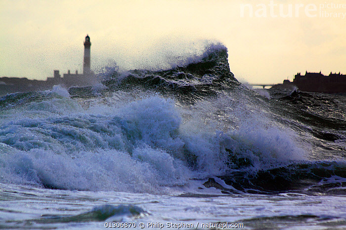 Wave breaking as it hits shoreline at Peterhead, Scotland, September 2010.  ,  BREAKING,BUILDINGS,COASTS,EUROPE,EXTREME,LIGHTHOUSES,SCOTLAND,SPRAY,STORMS,UK,WAVES,WEATHER,United Kingdom  ,  Philip Stephen