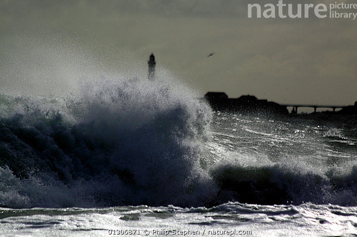 Wave rolling onto rocky shore at Peterhead, Scotland, September 2010.  ,  ATMOSPHERIC,BREAKING,BUILDINGS,COASTS,EUROPE,EXTREME,LIGHTHOUSES,SCOTLAND,SPRAY,STORMS,UK,WAVES,WEATHER,United Kingdom  ,  Philip Stephen