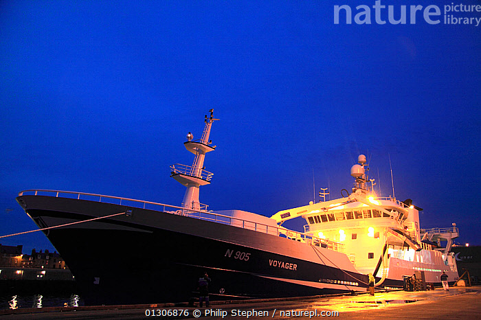 "Irish pelagic trawler ""Voyager"" alongside at Peterhead harbour, Scotland, September 2010.  ,  BOATS,COASTS,EUROPE,FISHING BOATS,HARBOURS,LIGHTS,MOORED,NIGHT,SCOTLAND,TRAWLERS,UK,WORKING-BOATS ,United Kingdom  ,  Philip Stephen"