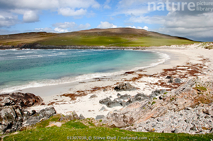 View of coastline on Isle of Harris, Scotland. July 2009  ,  BEACHES,CLIFFS,COASTS,EUROPE,ISLANDS,LANDSCAPES,SEA,UK,Geology,United Kingdom,core collection xtwox  ,  Steve Knell