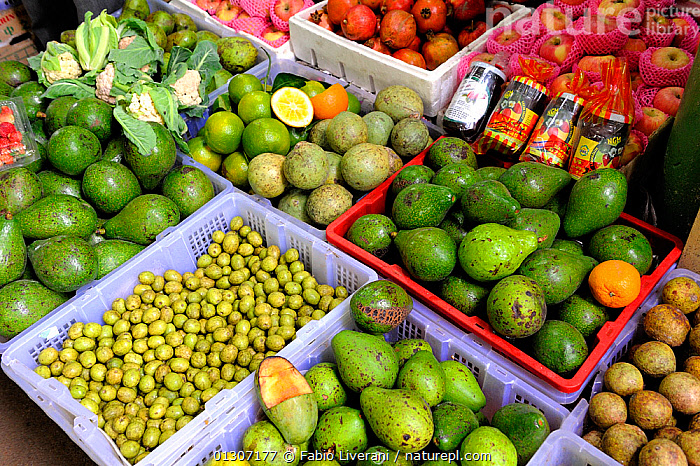 Boxes of local fruits and produce at market, Nuwara Eliya, Sri Lanka, June 2010.  ,  AGRICULTURE,ASIA,CULTIVATED,FOOD,FRUITS,INDIAN SUBCONTINENT,MARKET,PRODUCE,SRI LANKA,VEGETABLES  ,  Fabio Liverani