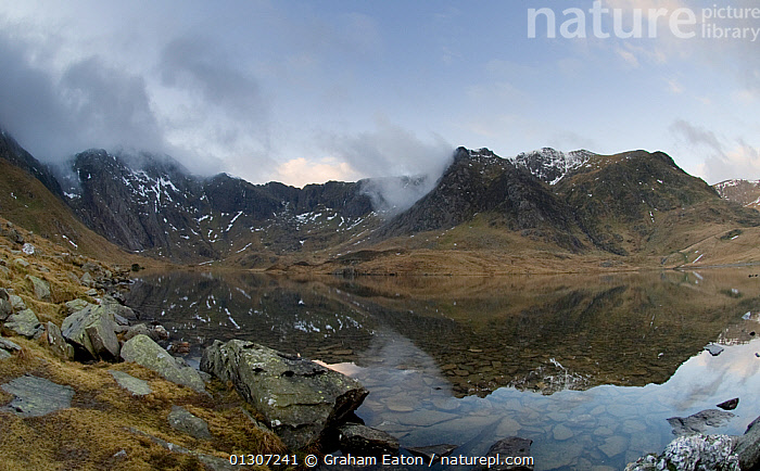 Cwm Idwal and the Devils Kitchen, a classic glacial tarn or corrie, Snowdonia National Park, Wales, January 2010.  ,  ATMOSPHERIC,EROSION,EUROPE,GEOLOGY,GLACIAL,LAKES,LANDSCAPES,MOUNTAINS,NP,REFLECTIONS,UK,WATER,WINTER,National Park,United Kingdom  ,  Graham Eaton