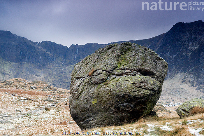 A 'glacial erratic' or boulder deposited by retreating ice, outside Cwm Idwal, Snowdonia NP, Wales, January 2009  ,  BOULDER,CLIFFS,CLIMATE CHANGE,CORRIE,EUROPE,GEOLOGY,GLACIATION,GLACIER,LANDSCAPES,NP,ROCKS,UK,WALES,National Park,United Kingdom  ,  Graham Eaton