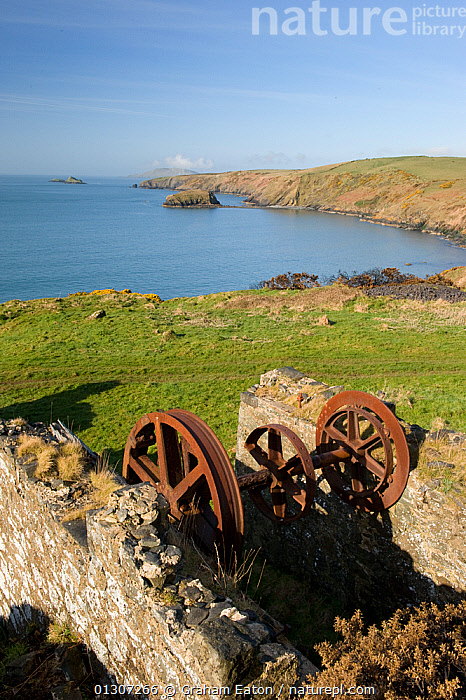 Old Manganese Mine workings at Porth Ysgo, Gwynedd, North Wales, UK, April 2010.  ,  ARCHAEOLOGY,BUILDINGS,HERITAGE,ISLANDS,LANDSCAPES,MINE,MINERAL,MINING,NATIONAL TRUST,RUINS,SEA,STONE,WALES,Europe,United Kingdom  ,  Graham Eaton