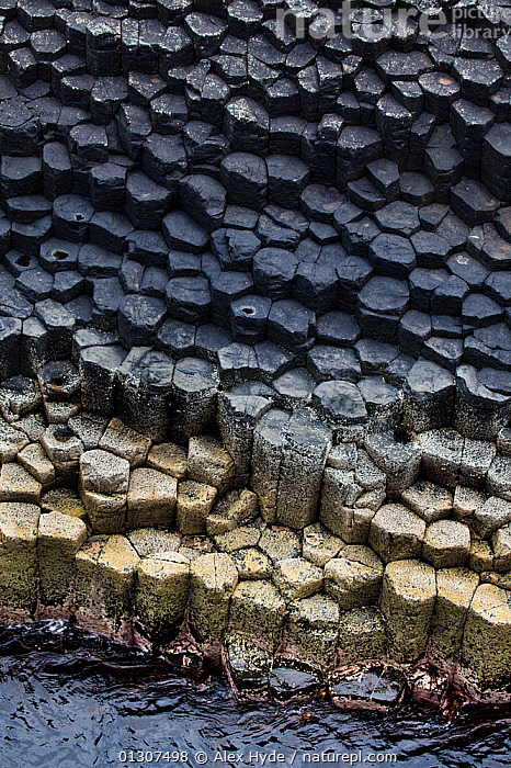 Hexagonal basalt columns, Isle of Staffa, Inner Hebrides, Scotland, UK. June 2010  ,  ABSTRACT,COASTS,EUROPE,GEOLOGY,LANDSCAPES,MULL,PATTERNS,PROCESSED,ROCKS,SCOTLAND,SHAPES,TESSELLATING,UK,VERTICAL,United Kingdom  ,  Alex Hyde