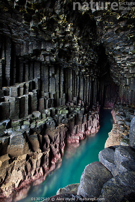 Fingal's Cave, showing basalt columns, Isle of Staffa, Inner Hebrides, Scotland, UK, June 2010  ,  beauty in nature,CATALOGUE2,CAVES,COASTS,column,dasalt,EUROPE,fairytale,Fingals cave,GEOLOGY,grey,inner hebrides,Isle of Staffa,LANDSCAPES,magical,Mull,natural pattern,nature,Nobody,outdoors,rock formation,ROCKS,SCOTLAND,TURQUOISE,UK,UL,VERTICAL,WATER,United Kingdom,core collection xtwox  ,  Alex Hyde