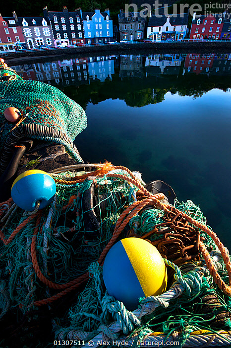 Fishing nets at Tobermory harbour, Isle of Mull, Scotland.  ,  ATMOSPHERIC,BUILDINGS,BUOYS,CALM,EUROPE,FISHING,HARBOURS,HOUSES,LANDSCAPES,MULL,NETS,PROCESSED,REFLECTIONS,SCOTLAND,UK,VERTICAL,United Kingdom  ,  Alex Hyde