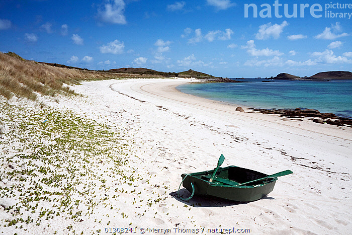 Punt pulled up on Par Beach, St. Martin's, Isles of Scilly. May 2010., BEACHES,BOATS,COASTS,ENGLAND,EUROPE,HOLIDAYS,PEACEFUL,RECREATIONAL,SAND,TRANQUIL,UK,Concepts,United Kingdom, Merryn Thomas