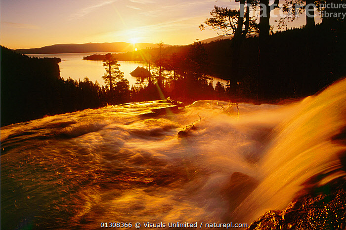Waterfall at sunrise in Eagle Creek above Emerald Bay, Lake Tahoe, Sierra Nevada Mountains, California, USA., ANGLE,BAY,BEAUTY,CALIFORNIA,CALMING,CASCADE,COLOR,CREEK,EAGLE,EMERALD,GEOLOGY,HIGH,IMAGE,LAKE,MOTION,MOUNTAINS,MYSTERY,NEVADA,OUTDOORS,PEACEFUL,SIERRA,SUNRISE,TAHOE,TRANQUIL,USA,WATERFALLS,Concepts,North America, Visuals Unlimited