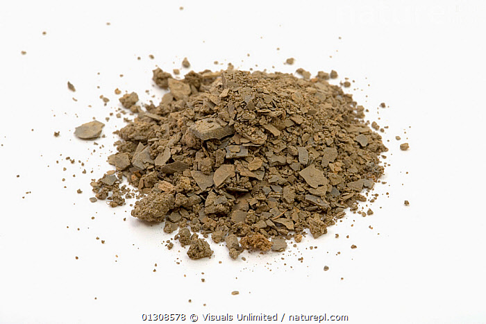 Clay Soil, ANGLE,BROWN,CLAY,COLOR,DIRT,GEOLOGY,HIGH,PILE,ROCK,SEDIMENTARY,SHOT,SOIL,STUDIO,WHITE, Visuals Unlimited