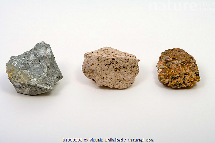 Igneous Rocks - From left to right - Andesite, Pumice, Granite Porphyry, ANDESITE,CLOSE UP,COLOR,GEOLOGY,GRANITE,IGNEOUS,MINERALS,OBJECT,PORPHYRY,PUMICE,ROCK,ROCKS,SCIENTIFICA,SINGLE,STUDIOSHOT,WHITE, Visuals Unlimited