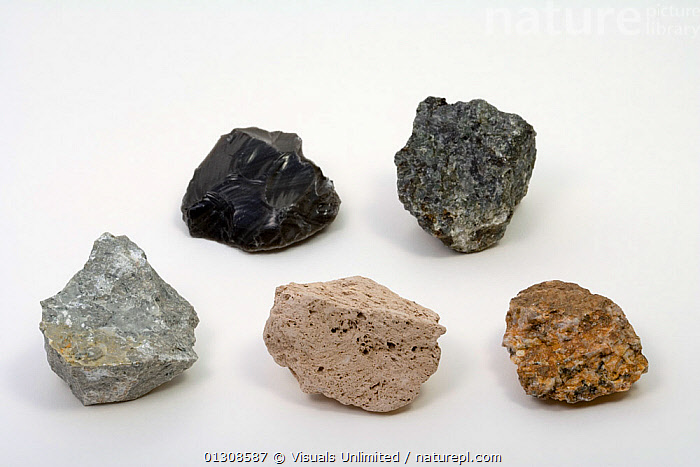 Igneous Rocks - Clockwise starting with top left - Obsidian, Gabbro, Granite Porphyry, Pumice, Andesite, ANDESITE,CLOSE UP,COLOR,GABBRO,GEOLOGY,GRANITE,IGNEOUS,MINERALS,OBJECT,OBSIDIAN,PORPHYRY,PUMICE,ROCKS,SCIENTIFICA,SINGLE,STUDIOSHOT,WHITE, Visuals Unlimited