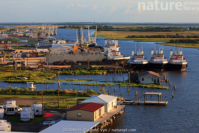 Boats and industrial development along the road to Grand Isle in the Mississippi River delta. Plaquemines Parish, Louisiana, USA, July 2010., BOATS,BUILDINGS,DEVELOPMENT,INDUSTRY,LANDSCAPES,NORTH AMERICA,RIVERS,USA,WATER, Gerrit Vyn