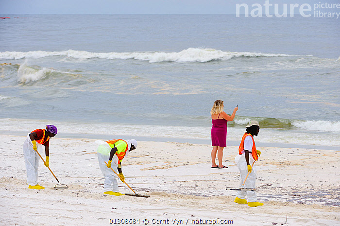 Beach cleaners, and a woman taking a cell phone photo of the oil contamination, resulting from the BP Deepwater Horizon oil leak in the Gulf of Mexico, Orange Beach, Baldwin County, Alabama, USA, June 2010., BEACHES,boom,British Petroleum,BUILDINGS,CITIES,clean up,COASTS,CONSERVATION,contamination,CRUDE OIL,DEEPWATER HORIZON,ENVIRONMENTAL,LANDSCAPES,NORTH AMERICA,OIL,PEOPLE,POLLUTION,response,slick,spill,USA, Gerrit Vyn