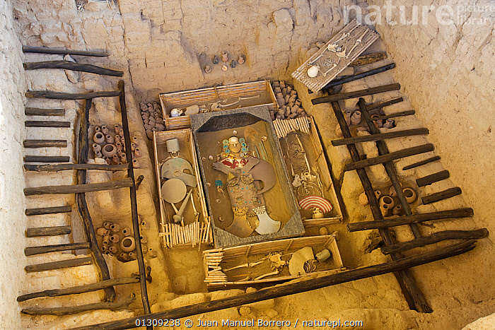 Archaeological site of the Se�or de Sip�n, showing a reconstruction of the tomb. Sitio Huaca Rajada-Sip�n, Lambayeque. Peru November 2009  ,  ANCIENT,ARCHAEOLOGICAL,ARCHAEOLOGY,BURIAL SITE,BURIALS,CULTURES,HISTORIC,SOUTH AMERICA,TOMBS,TRIBES  ,  Juan Manuel Borrero