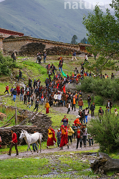 The Khampa herdsmen gather to participate in the horse festival, near Huangyan, in the Garze Tibetan Autonomous Prefecture in the Sichuan Province, China, June 2010  ,  boys,catalogue3,Garze,Garze Tibetan Autonomous Prefecture,Khampa,LANDSCAPES,large group,local tradition,MOUNTAINS,PEOPLE,VERTEBRATES,CHINA,elevated view,festival,Following,GROUPS,herdsmen,hillside,horse festival,HORSES,Huangyan,large group of people,local custom,MAMMALS,MEN,outdoors,PERISSODACTYLA,riding,Sichuan Province,TRADITIONAL,traditional culture,Travel,TRIBES,VERTICAL,Asia,Equines  ,  Kristel Richard