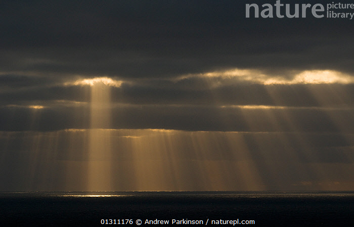 Shafts of evening light over coastline, viewed from the Shetland Islands, Scotland, UK, August 2007 (non-ex), ATMOSPHERIC,CLOUDS,COASTS,DRAMATIC,DUSK,EUROPE,HABITAT,ISLANDS,SCOTLAND,SEA,UK,WEATHER,CONCEPTS,United Kingdom, Andrew Parkinson