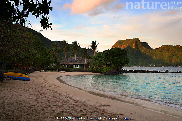 Beach in Pago Pago harbour, with Rainmaker Mountain lit by evening sun, American Samoa, Samoan Islands, August 2008., ASPIRATIONS,BEACHES,BUILDINGS,COASTS,EMPTY,HOMES,KAYAKS,LANDSCAPES,MOUNTAINS,PACIFIC,PACIFIC ISLANDS,TROPICAL,Concepts,BOATS, Toby Roxburgh