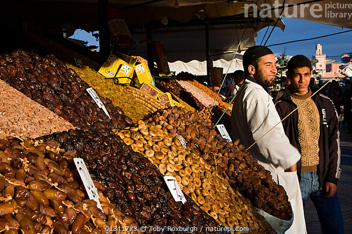 Market traders and their stall. Marrakech, Morocco, February 2010., AFRICA,CITIES,FOOD,MARKETS,MEN,MOROCCO,NORTH AFRICA,PEOPLE,STALLS,TRADE,NORTH-AFRICA, Toby Roxburgh