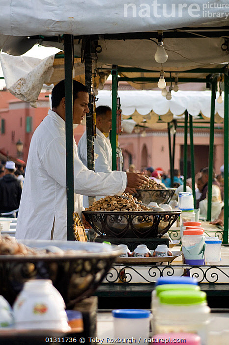 Stalls selling cooked snails in the Djemaa el Fna, Marrakech, Morocco, 2010.  ,  AFRICA,CITIES,COOKING,MARKETS,MEN,MOROCCO,NORTH AFRICA,PEOPLE,SNAILS,TRADE,VERTICAL,PROCEDURES,NORTH-AFRICA  ,  Toby Roxburgh