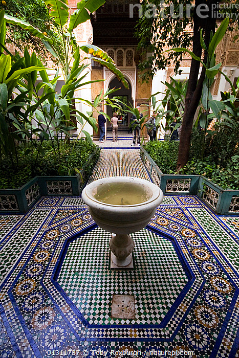Fountain in the courtyard garden of the Bahia Place, Marrakech, Morocco, March 2010., AFRICA,BUILDINGS,CITIES,FOUNTAINS,GARDENS,MOROCCO,MOSAIC,MOSAICS ,NORTH AFRICA,ORNATE,PALACES,PATTERNS,PEOPLE,NORTH-AFRICA, Toby Roxburgh