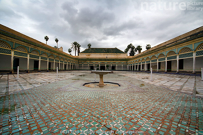 Large open courtyard in the Bahia Palace, Marrakech, Morocco, March 2010., AFRICA,ARCHITECTURE,BUILDINGS,CITIES,FOUNTAINS,MOROCCO,MOSAIC,MOSAICS ,NORTH AFRICA,PALACES,PEOPLE,NORTH-AFRICA, Toby Roxburgh
