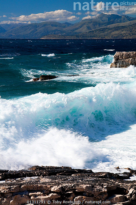 Waves breaking onto rocky shore, northeast coast of Corfu, with the Albanian coast in the background, Corfu, Greece, June 2010., BREAKING,COASTS,CORFU,EUROPE,GREECE,HEAVY SEAS,LANDSCAPES,MEDITERRANEAN,MOUNTAINS,ROCKS,VERTICAL,WAVES,core collection xtwox, Toby Roxburgh