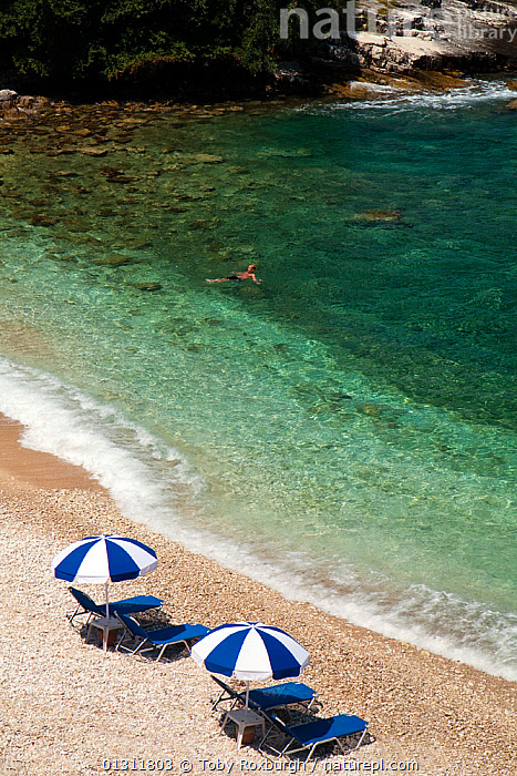 Aerial view of swimmer off Pipitos beach, northern Corfu, Greece, June 2010., AERIALS,BEACHES,COASTS,CORFU,EUROPE,HIGH ANGLE SHOT,HOLIDAYS,LEISURE,MEDITERRANEAN,PARASOLS,PEOPLE,SUNBATHERS,SUNBATHING,SUNLOUNGERS,SWIMMING,TOURISM,TRANSLUCENT,UMBRELLAS,VERTICAL,WATER,Concepts,core collection xtwox, Toby Roxburgh