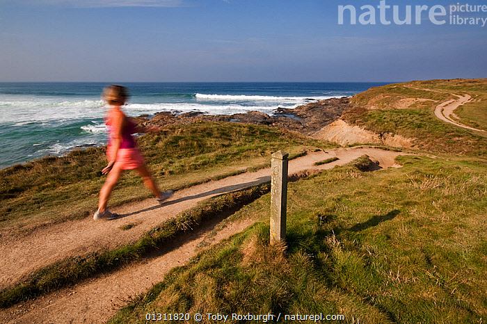 Woman walking in the early morning along the South West Coast Path from Booby's Bay towards Trevose Head, Cornwall Area of Outstanding Natural Beauty (AONB), England, August 2010. Model released., blur,blurry,CLIFFS,COASTS,ENGLAND,EUROPE,FOOTPATHS,hiking,LANDSCAPES,LEISURE,LIFESTYLE,MOVEMENT,PEOPLE,SPEED,SUMMER,TIME EXPOSURE,UK,WALKING,WOMAN,Geology,United Kingdom,core collection xtwox, Toby Roxburgh