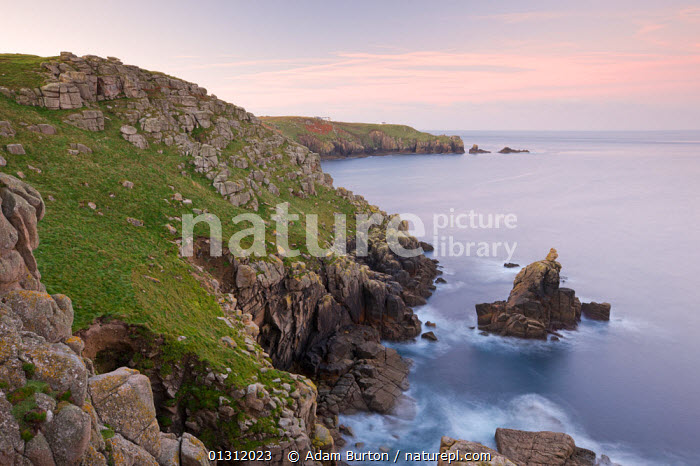 Looking towards the Irish Lady stack and Dr Syntax's Head from the cliffs of Pedn-men-du, Lands End, Cornwall, England. October 2009, AUTUMN,CLIFFS,COASTS,DUSK,EUROPE,LANDSCAPES,ROCKS,UK,WATER,Geology,ENGLAND,United Kingdom,core collection xtwox, Adam Burton