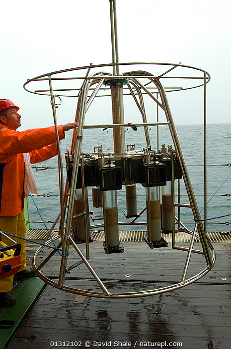 Recovering seabed samples from the Megacorer, onboard James Cook research vessel over the mid Atlantic ridge, June 2010, ATLANTIC,BOATS,DEEPSEA,DEEP SEA,MARINE,OUTDOORS,PEOPLE,RESEARCH,SAMPLES,SCIENCE,SEABED,TEMPERATE,VERTICAL,core collection xtwox, David Shale