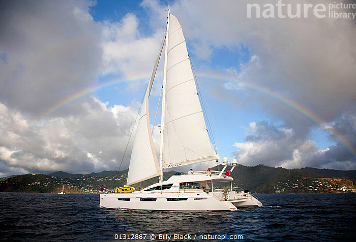 "Privilege 745 catamaran ""Matau"" cruising off Grenada, Caribbean, January 2010. Property released.  ,  BOATS,CARIBBEAN,CATAMARANS,COASTS,CRUISING,FORESAILS,MAINSAILS,MULTIHULLS ,PROFILE,RAINBOWS,SAILING BOATS,WEST INDIES,YACHTS,Weather,core collection xtwox  ,  Billy Black"