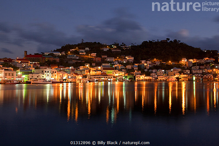 Downtown St George's at dawn with lights reflected in still water. Grenada, Caribbean, January 2010.  ,  CARIBBEAN,COASTS,DAWN,ISLANDS,LANDSCAPES,LIGHTS,PEACEFUL,REFLECTIONS,TOWNS,WEST INDIES,Concepts  ,  Billy Black
