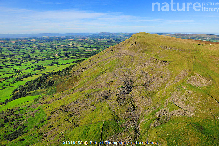 Aerial view of Benbradagh Mountain, north of Dungiven, County Londonderry, Northern Ireland, UK, September 2009  ,  AERIALS,EUROPE,GREEN,HILLS,LANDSCAPES,MOUNTAINS,NORTHERN IRELAND,UK,ULSTER,United Kingdom  ,  Robert Thompson