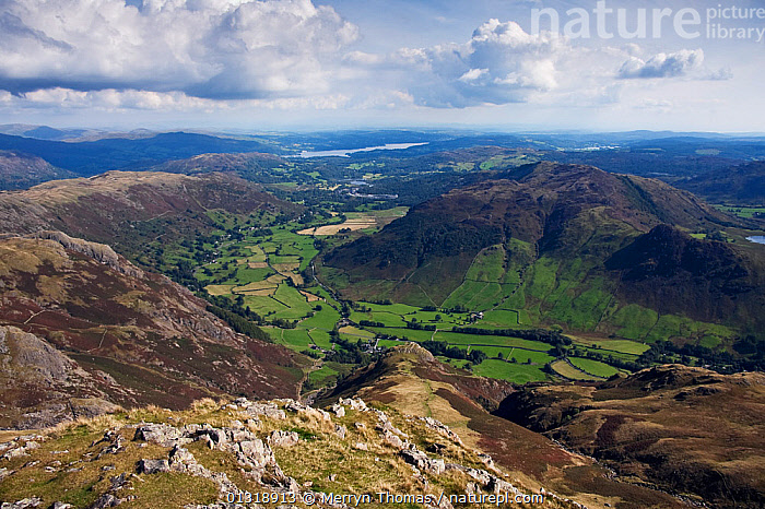 Great Langdale valley, viewed from Harrison Stickle, Lake District National Park, Cumbria, England. September 2010.  ,  CLOUDS,COUNTRYSIDE,ENGLAND,EUROPE,HIGH ANGLE SHOT,LANDSCAPES,NP,ROCKS,SKIES,UK,VALLEYS,Weather,National Park,United Kingdom  ,  Merryn Thomas