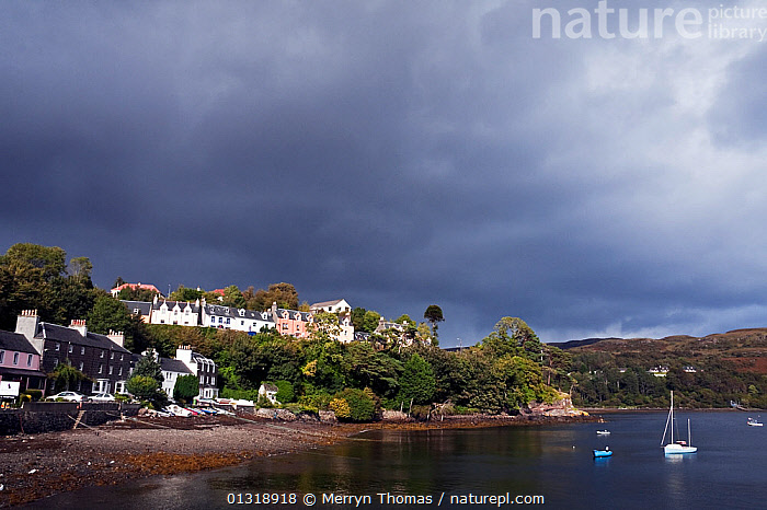 Portree Town, Isle of Skye, Scotland. September 2010.  ,  BEACHES,BOATS,BUILDINGS,COASTS,EUROPE,ISLANDS,LANDSCAPES,MIXED BOATS,MOORED,OPEN BOATS,SAILING BOATS,SCOTLAND,TOWNS,UK,United Kingdom,core collection xtwox  ,  Merryn Thomas