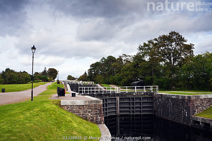 Neptune's Staircase (series of locks at the beginning of the Caledonian Canal). Fort William, Highlands, Scotland, September 2010.  ,  CANALS,EUROPE,FOOTPATHS,LOCK,SCOTLAND,TREES,UK,PLANTS,United Kingdom,core collection xtwox  ,  Merryn Thomas