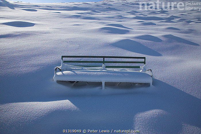 Snow covered bench on the Malvern Hills. Worcestershire, UK, February 2010.  ,  bench,benches,COLD,concepts,EMPTY,EUROPE,LANDSCAPES,lonely,Nobody,seats,SNOW,UK,WHITE,WINTER,United Kingdom  ,  Peter Lewis