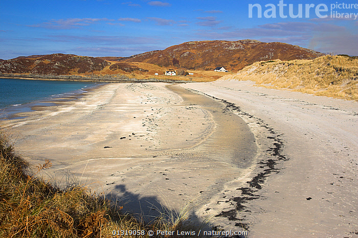 Camusddrach beach and dunes. Near Mallaig, Scotland, March 2010.  ,  BEACHES,BUILDINGS,COASTS,COUNTRYSIDE,EUROPE,LANDSCAPES,MOUNTAINS,sand,SCOTLAND,sea,UK,WATER,United Kingdom  ,  Peter Lewis