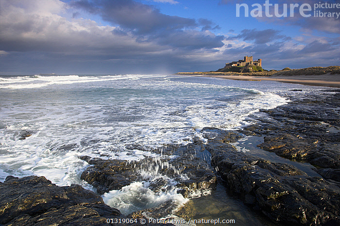 Sea under a stormy sky at Bamburgh Castle. Northumberland, UK, March 2010.  ,  bad weather,BUILDINGS,CASTLES,COASTS,COUNTRYSIDE,EUROPE,seas,UK,WATER,United Kingdom  ,  Peter Lewis